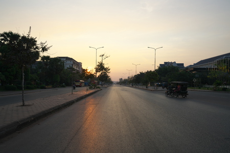 Siem Reap, Cambodia-Januay 11, 2019: Sunrise viewed from National Highway 6 in Siem Reap, Cambodia