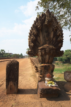 Siem Reap, Cambodia-January 12, 2019: Spean Praptos or Kampong Kdei Bridge in Cambodia used to be the longest corbeled sto NE-arch bridge in the world