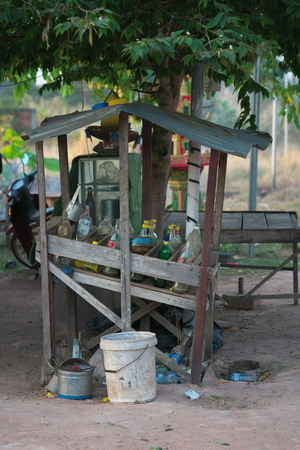 SRA  aem, Cambodia-January 10, 2019: A vendor selling gas with small booths at the roadside at a village near Preah Vihear Editöryel