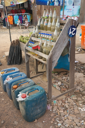 SRA  aem, Cambodia-January 9, 2019: A vendor selling gas with small booths at the roadside at a village near Preah Vihear