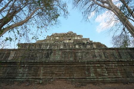 Siem Reap, Cambodia-January 10, 2019: A pyramid of Prasat Thom in Koh Ker in Siem Reap, Cambodia