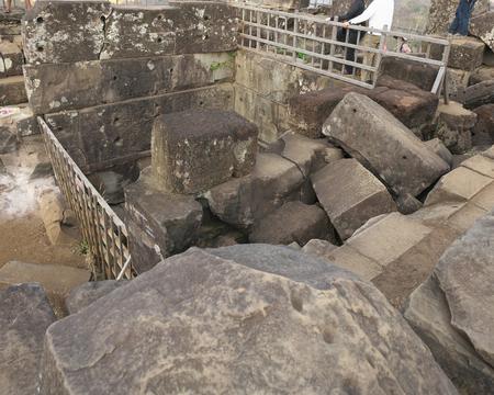 Siem Reap, Cambodia-January 10, 2019: Summit of pyramid of Prasat Thom in Koh Ker in Siem Reap, Cambodia Sajtókép