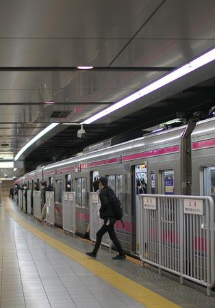 Tokyo, Japan-February 26, 2019: Passengers just get off a train at Shinjuku Station in Tokyo