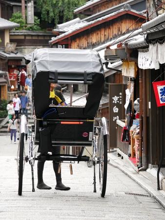 Kyoto, Japan-September 7, 2015: A rickshaw at Ninenzaka near Kiyomizudera temple Editöryel