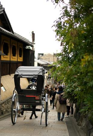 Kyoto, Japan-March 21, 2019: A rickshaw at Sannenzaka street in Kyoto Editöryel