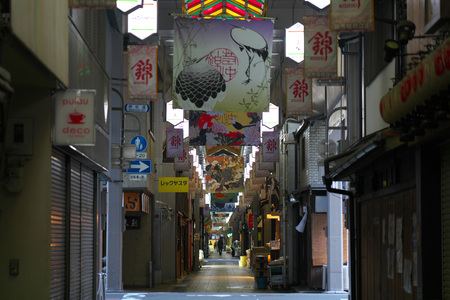 Kyoto, Japan-March 22, 2019: Nishiki market or Kyotos Kitchen in Kyoto in the morning