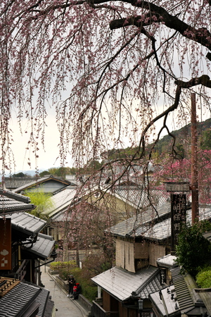 Kyoto, Japan-March 23, 2019: View of Ninenzaka in Kyoto in the morning.