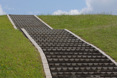 Tokyo, Japan-May 19, 2019: Steps on a hill in the summer Imagens - 124716812