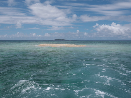 Okinawa, Japan-May 31, 2019: Barasu Island, formed with pieces of coral: a very very small desolate island located north of Iriomote Island.