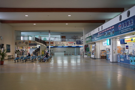 Okinawa, Japan-June 1, 2019: Quiet Ishigaki Ferry Terminal in Ishigaki Island, Okinawa, in the evening.