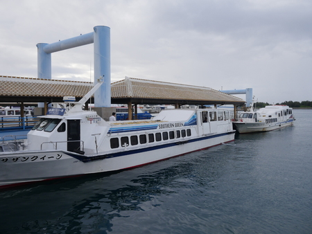 Okinawa, Japan-May 31, 2019: Ishigaki Ferry Terminal in Ishigaki Island, Okinawa, in the morning