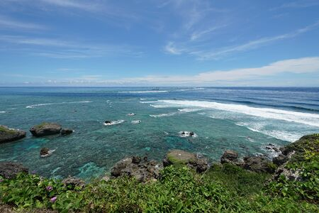 Miyako island, Japan-June 26, 2019: Pacific ocean viewed from Higashi Hennazaki in Miyako island, Okinawa