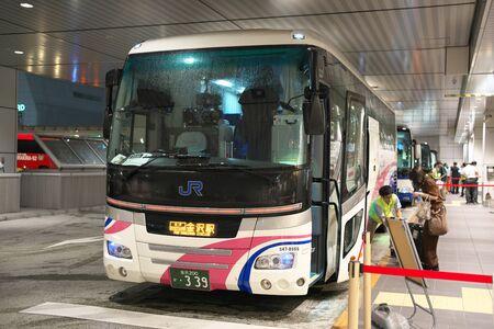 Tokyo,Japan-August 19, 2019: A bus for Kanazawa at a bus stop of Shinjuku Expressway Bus Terminal 報道画像