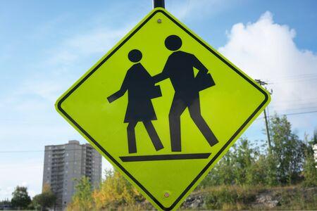 Yellowknife, Canada-September 1, 2019: School Ahead sign in Yellowknife, Canada