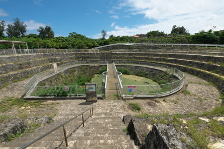 Miyako island, Japan-June 26, 2019: Cut Off Wall of Fukusato Underground Dam in Miyako island, Okinawa 에디토리얼