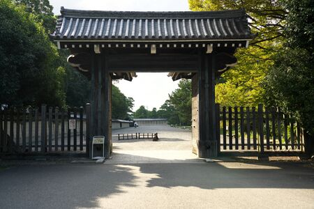 Kyoto,Japan-September 26, 2019: A gate of Kyoto Imperial Palace in late summer