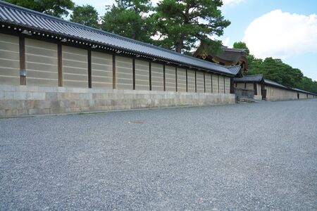 Kyoto,Japan-September 26, 2019: Exterior Walls of Kyoto Imperial Palace in Late Summer 報道画像