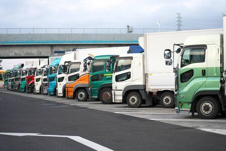 Shiga,Japan-September 26, 2019: Vehicles Parking at Kusatsu Parking Area of Meishin Expressway at Break of Day