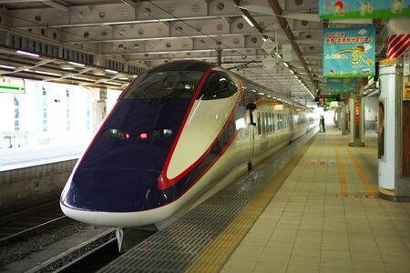 Yamagata,Japan-October 4, 2019: JR Yamagata Shinkansen Tsubasa Departing from Shinjo Station, Japan