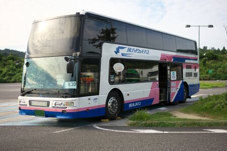 Shiga,Japan-September 29,2019: A double-decker of West Japan JR BUS parking at Konan Parking area of Shin-Meishin Expressw Ay