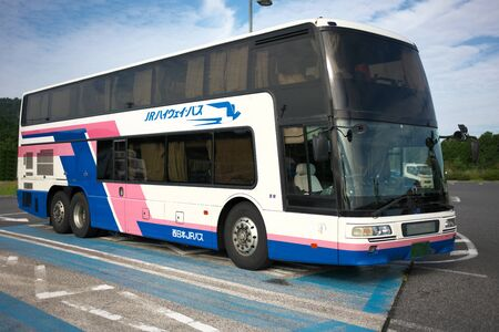 Shiga,Japan-September 29,2019: A double-decker of West Japan JR BUS parking at Konan Parking area of Shin-Meishin Expressw Ay 写真素材 - 132423555