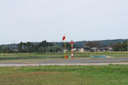 Niigata,Japan-October 22, 2019: Sado airport wind cone in Sado island, Niigata, Japan. Its operation is indefinite suspended.