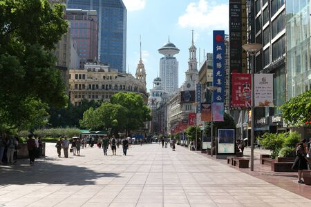 Shanghai,China-September 18, 2019: Very Busy East East Nanjing in Shanghai in early autumn