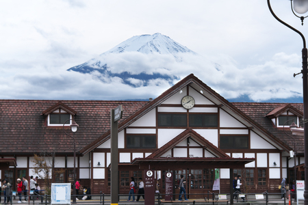 Yamanashi,Japan-October 26, 2019: Kawaguchiko Station in Yamanashi with Mt. Fuji Background 写真素材 - 132887979
