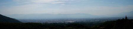 Yamanashi,Japan-November 2, 2019: Panoramic View of Kofu Basin in Japan in Autumn. The Top of Mt. Fuji Seen Behind Mountains. 写真素材 - 133188436