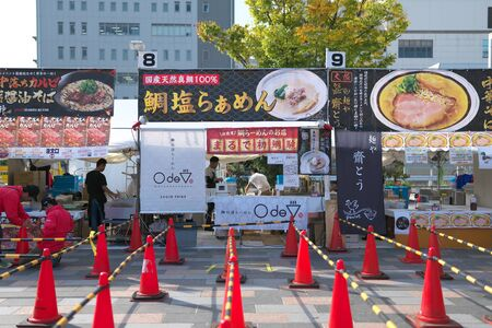 Yamanashi,Japan-November 2, 2019: Before opening of Ramen festival or competition at the north of JR Koufu station in Yama Nashi prefecture in autumn