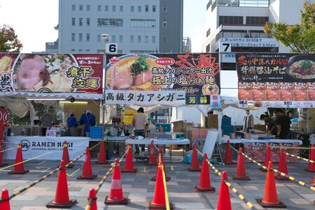 Yamanashi,Japan-November 2, 2019: Before opening of Ramen festival or competition at the north of JR Koufu station in Yama Nashi prefecture in autumn 写真素材 - 133264487