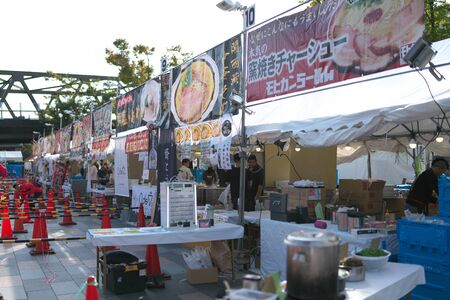 Yamanashi,Japan-November 2, 2019: Before opening of Ramen festival or competition at the north of JR Koufu station in Yama Nashi prefecture in autumn 写真素材 - 133264493