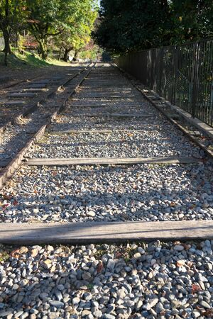 Kyoto,Japan-November 14, 2019: Rails of Incline at Keage Incline in Kyoto 写真素材 - 133998257