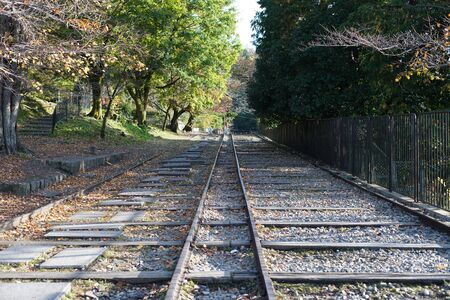 Kyoto,Japan-November 14, 2019: Rails of Incline at Keage Incline in Kyoto