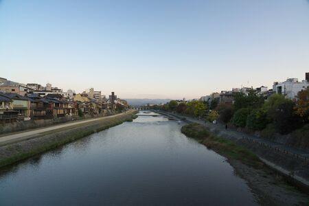 Kyoto,Japan-November 16, 2019: Kamo River in Kyoto Viewed from Shijo Bridge in the Morning 写真素材