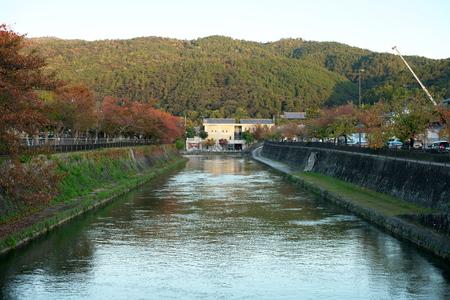 Kyoto,Japan-November 14, 2019: Funadamari, Biwako Sosui, Kamo-gawa Canal and Outou Canal in Kyoto 写真素材 - 133986933
