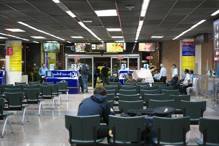 Bangkok,Thailand-December 5, 2019: Waiting room for Taxi riding at International terminal at Don Mueang International Airp ort in the midnight in Bangkok 写真素材 - 135669599