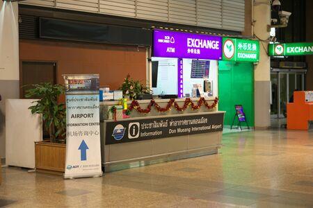 Bangkok,Thailand-December 5, 2019: Information Counter at International Terminal at Don Mueang International Airport in th e midnight in Bangkok 写真素材 - 135669600