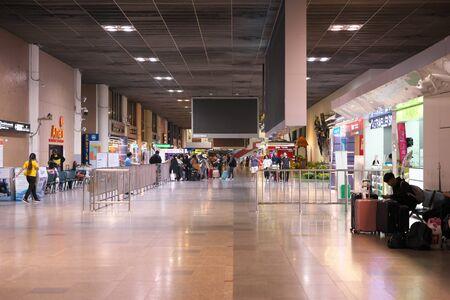 Bangkok,Thailand-December 5, 2019: International Terminal for Arrival at Don Mueang International Airport in the Midnight in Bangkok 写真素材 - 135669601