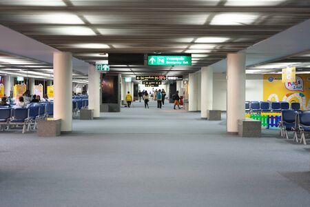 Bangkok,Thailand-December 8, 2019: International Terminal for Departure at Don Mueang International Airport in the Midnigh t in Bangkok