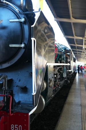 Bangkok,Thailand-December 5, 2019: Double-headed steam locomotive train at Hua Lamphong station in Bangkok, Thailand 写真素材 - 135605693
