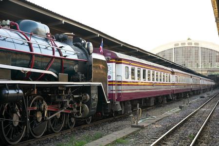 Bangkok,Thailand-December 5, 2019: Double-headed steam locomotive train at Hua Lamphong station in Bangkok, Thailand