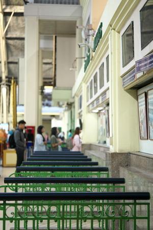 Bangkok,Thailand-December 6, 2019: Ticket booth at Hua Lamphong station or Bangkok station in Bangkok 報道画像