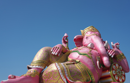 Chachoengsao,Thailand-December 5, 2019: Statue of Pinksha,Hindu God of Wisdom or Prophecy, on blue sky background