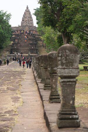 Buriram,Thailand-December 8, 2019: Approach and tower of Phnom Rung, Buriram's Khmer temple on volcano, in Thailand 写真素材 - 136347753