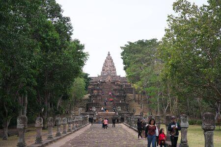 Buriram,Thailand-December 8, 2019: Approach and tower of Phnom Rung, Buriram's Khmer temple on volcano, in Thailand 写真素材 - 136347755