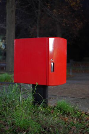 Tokyo,Japan-December 1, 2019: Isolated red mailbox or postbox in the dark 写真素材 - 136080103