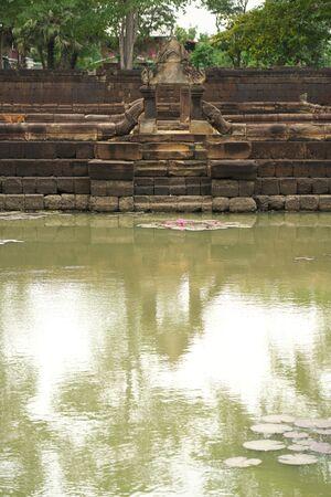Buriram,Thailand-December 8, 2019: Lotus pond at Prasat Muang Tam in Buriram, Thailand