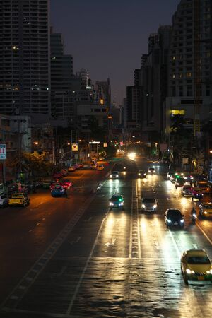 Bangkok,Thailand-December 5, 2019: Asok Montri intersection at the dawn in Bangkok, Thailand 写真素材 - 136144266