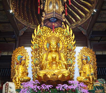 Shanghai,China-September 16, 2019: Buddha statue at Longhua temple in Shanghai, China 写真素材 - 136266990